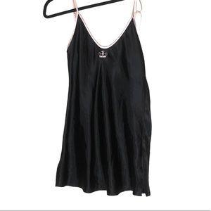 Black satin slip dress w/ pink trim size small